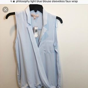 Philosophy Pale Blue sz S wrap around shirt